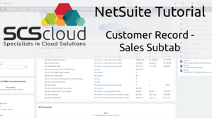NetSuite Tutorial - Customer Record - Sales Subtab