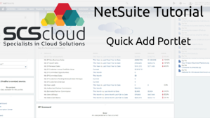 NetSuite Tutorial - Quick Add Portlet