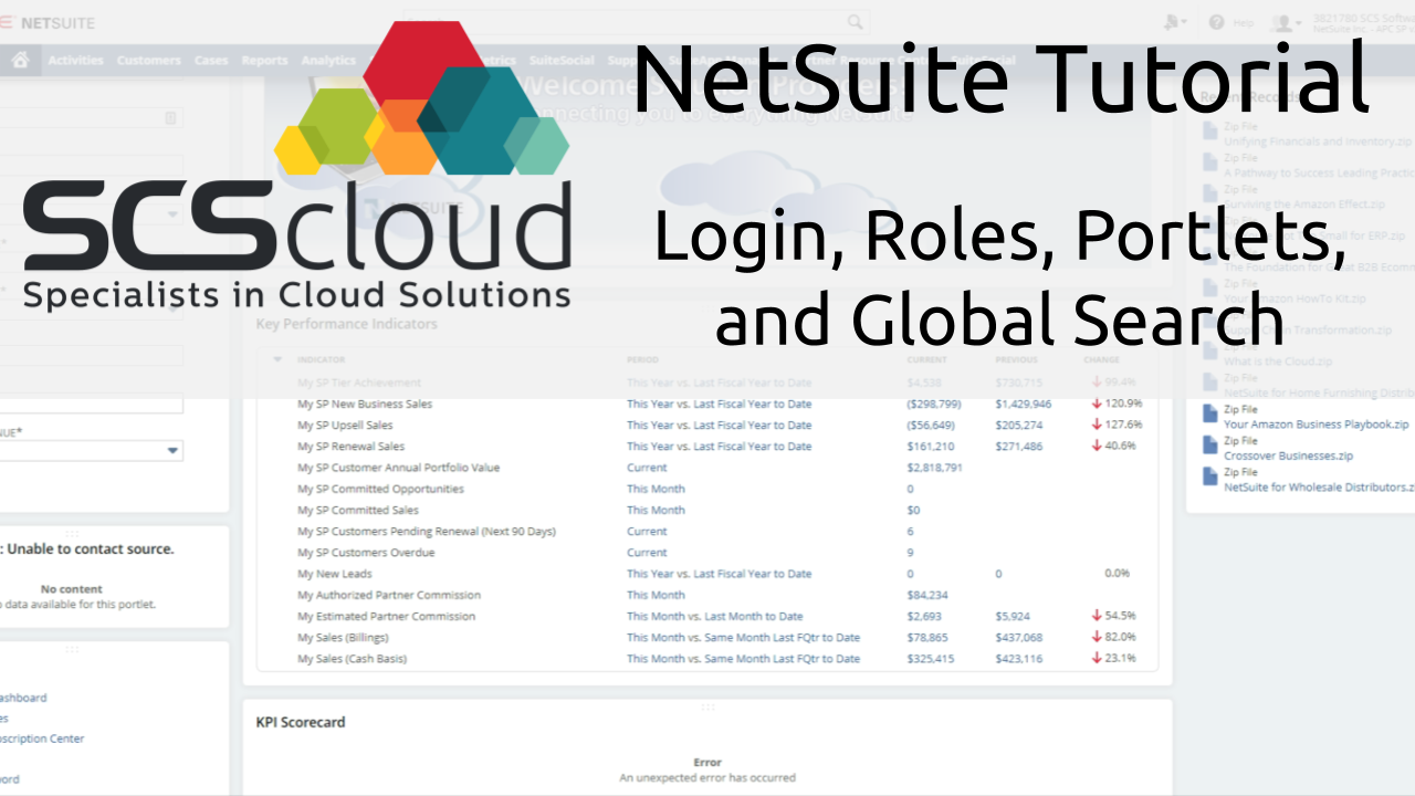 NetSuiteTutorial - Login, Roles, Portlets, and Global Search
