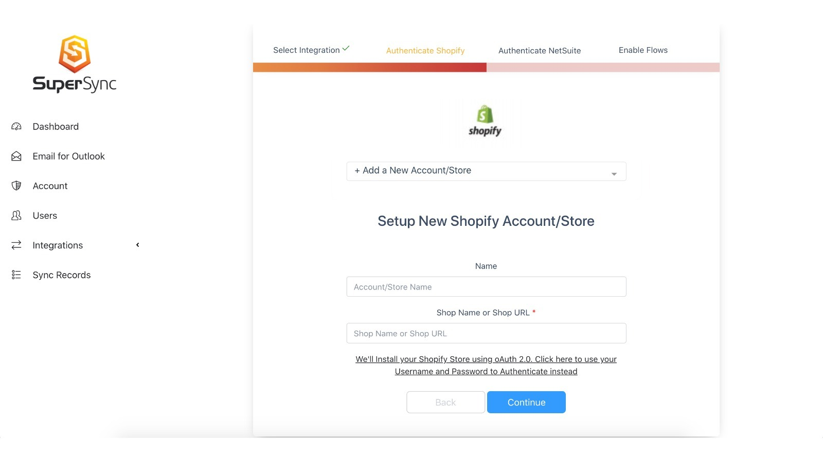 Easily add you Shopify account to SuperSync and have it quickly sync with NetSuite